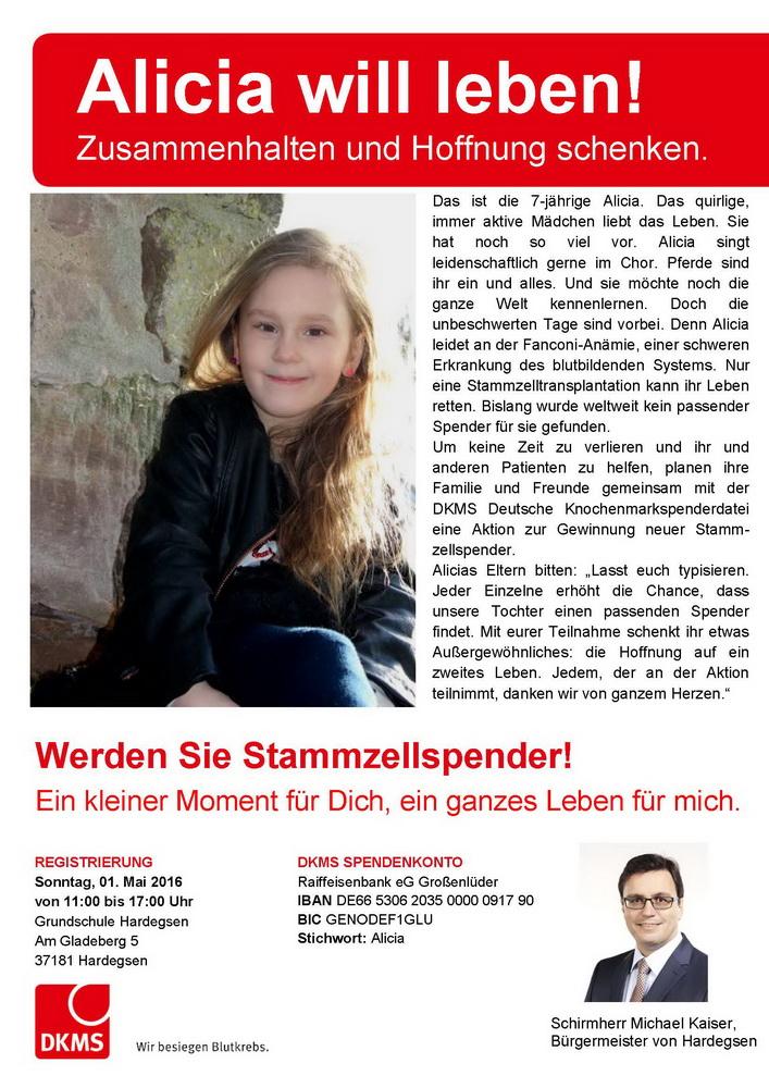 Aufruf Stammzellenspender für Alicia