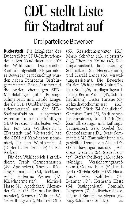 GT CDU stellt Liste für Stadtrat auf