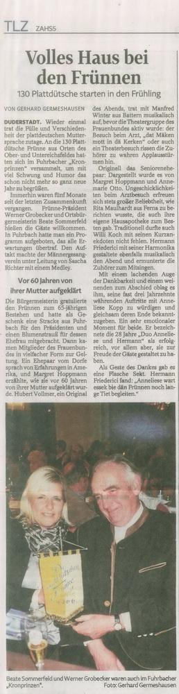 2016-05-07- TLZ Bericht Plattdeutscher Abend